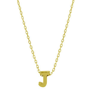 Silver Gold Plated Small Initial Letter J necklace